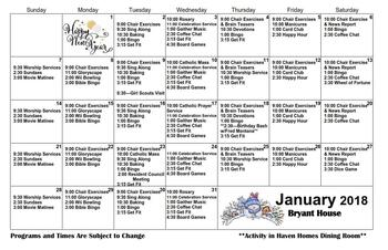 Activity Calendar of Haven Homes Maple Plain, Assisted Living, Nursing Home, Independent Living, CCRC, Maple Plain, MN 1