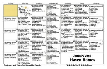 Activity Calendar of Haven Homes Maple Plain, Assisted Living, Nursing Home, Independent Living, CCRC, Maple Plain, MN 4