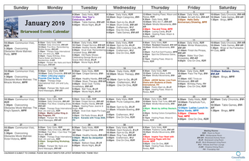 Activity Calendar of GreenFields of Geneva, Assisted Living, Nursing Home, Independent Living, CCRC, Geneva, IL 1