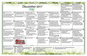 Activity Calendar of GreenFields of Geneva, Assisted Living, Nursing Home, Independent Living, CCRC, Geneva, IL 5