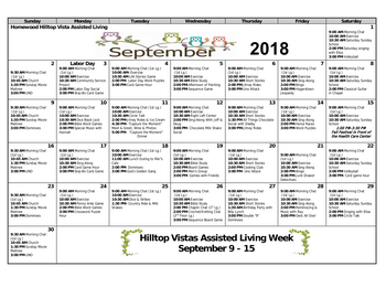 Activity Calendar of Homewood at Williamsport, Assisted Living, Nursing Home, Independent Living, CCRC, Williamsport, MD 7