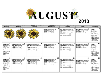 Activity Calendar of Homewood at Williamsport, Assisted Living, Nursing Home, Independent Living, CCRC, Williamsport, MD 11