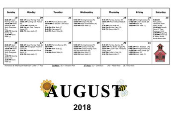 Activity Calendar of Homewood at Williamsport, Assisted Living, Nursing Home, Independent Living, CCRC, Williamsport, MD 12