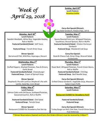 Dining menu of Homewood at Williamsport, Assisted Living, Nursing Home, Independent Living, CCRC, Williamsport, MD 9