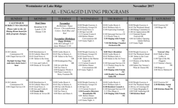 Activity Calendar of Westminster at Lake Ridge, Assisted Living, Nursing Home, Independent Living, CCRC, Lake Ridge, VA 1