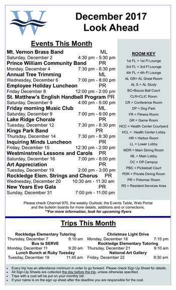 Activity Calendar of Westminster at Lake Ridge, Assisted Living, Nursing Home, Independent Living, CCRC, Lake Ridge, VA 4