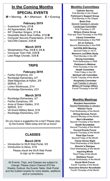 Activity Calendar of Westminster at Lake Ridge, Assisted Living, Nursing Home, Independent Living, CCRC, Lake Ridge, VA 7