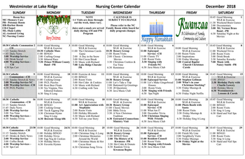 Activity Calendar of Westminster at Lake Ridge, Assisted Living, Nursing Home, Independent Living, CCRC, Lake Ridge, VA 10