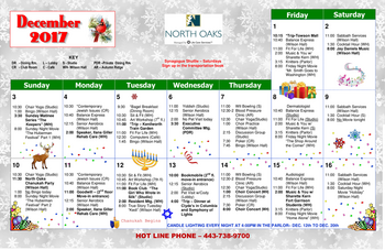 Activity Calendar of North Oaks, Assisted Living, Nursing Home, Independent Living, CCRC,  Pikesville, MD 1