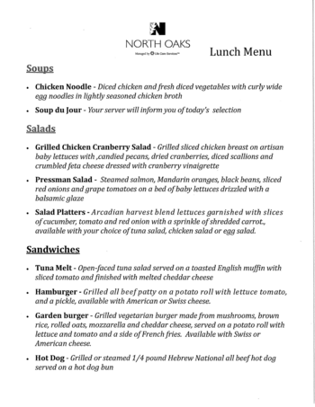 Dining menu of North Oaks, Assisted Living, Nursing Home, Independent Living, CCRC,  Pikesville, MD 1