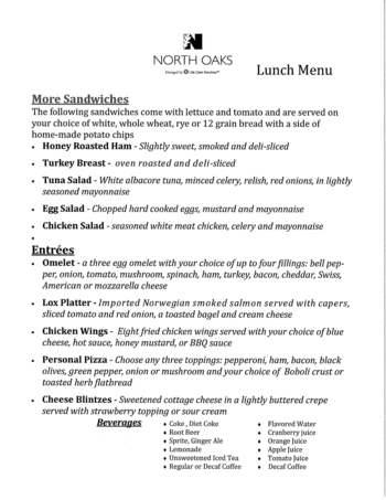 Dining menu of North Oaks, Assisted Living, Nursing Home, Independent Living, CCRC,  Pikesville, MD 2