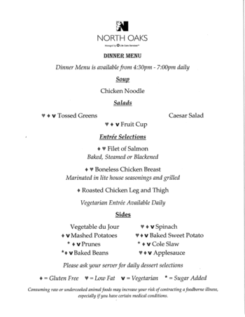 Dining menu of North Oaks, Assisted Living, Nursing Home, Independent Living, CCRC,  Pikesville, MD 3