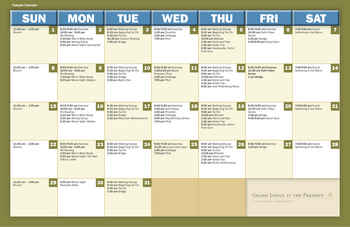 Activity Calendar of Grand Lodge at the Preserve, Assisted Living, Nursing Home, Independent Living, CCRC, Lincoln, NE 1