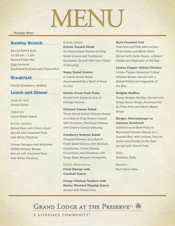 Dining menu of Grand Lodge at the Preserve, Assisted Living, Nursing Home, Independent Living, CCRC, Lincoln, NE 1