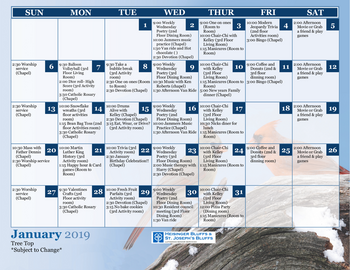 Activity Calendar of Heisinger Bluffs, Assisted Living, Nursing Home, Independent Living, CCRC, Jefferson City, MO 3