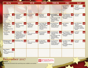 Activity Calendar of Heisinger Bluffs, Assisted Living, Nursing Home, Independent Living, CCRC, Jefferson City, MO 2