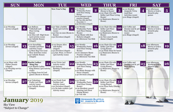 Activity Calendar of Heisinger Bluffs, Assisted Living, Nursing Home, Independent Living, CCRC, Jefferson City, MO 5