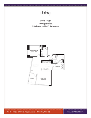 Floorplan of Saint John on the Lake, Assisted Living, Nursing Home, Independent Living, CCRC, Milwaukee, WI 3