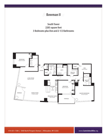 Floorplan of Saint John on the Lake, Assisted Living, Nursing Home, Independent Living, CCRC, Milwaukee, WI 9