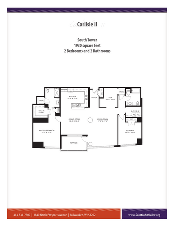 Floorplan of Saint John on the Lake, Assisted Living, Nursing Home, Independent Living, CCRC, Milwaukee, WI 19