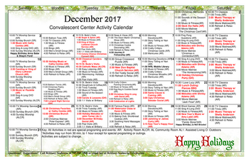 Activity Calendar of Patriots Colony, Assisted Living, Nursing Home, Independent Living, CCRC, Williamsburg, VA 1