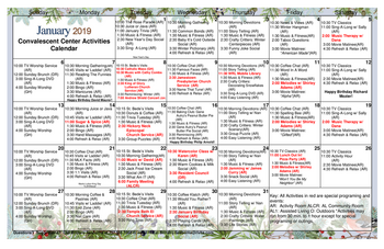 Activity Calendar of Patriots Colony, Assisted Living, Nursing Home, Independent Living, CCRC, Williamsburg, VA 2