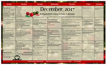 Activity Calendar of Patriots Colony, Assisted Living, Nursing Home, Independent Living, CCRC, Williamsburg, VA 3