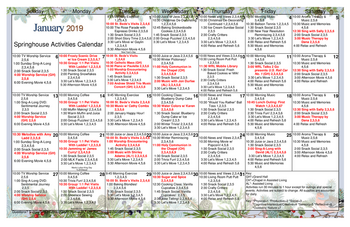 Activity Calendar of Patriots Colony, Assisted Living, Nursing Home, Independent Living, CCRC, Williamsburg, VA 5