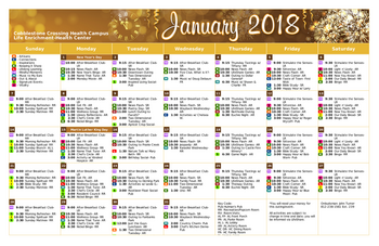 Activity Calendar of Cobblestone Crossings Health Campus, Assisted Living, Nursing Home, Independent Living, CCRC, Terre Haute, IN 2