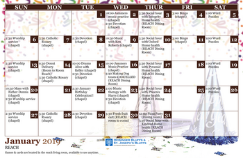 Activity Calendar of Heisinger Bluffs, Assisted Living, Nursing Home, Independent Living, CCRC, Jefferson City, MO 1