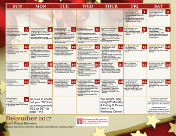 Activity Calendar of Heisinger Bluffs, Assisted Living, Nursing Home, Independent Living, CCRC, Jefferson City, MO 6