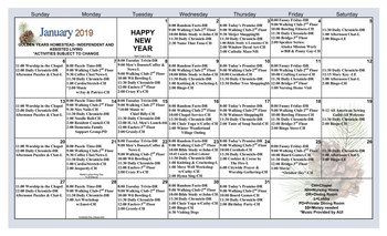 Activity Calendar of Golden Years, Assisted Living, Nursing Home, Independent Living, CCRC, Fort Wayne, IN 2