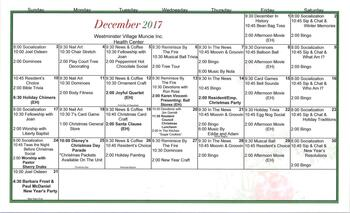 Activity Calendar of Westminster Village Muncie, Assisted Living, Nursing Home, Independent Living, CCRC, Muncie, IN 5