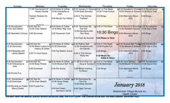 Activity Calendar of Westminster Village Muncie, Assisted Living, Nursing Home, Independent Living, CCRC, Muncie, IN 4