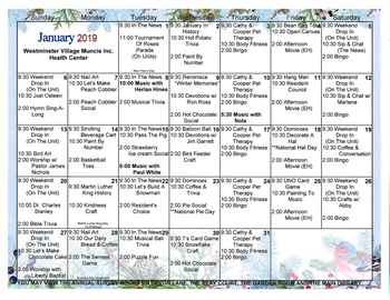 Activity Calendar of Westminster Village Muncie, Assisted Living, Nursing Home, Independent Living, CCRC, Muncie, IN 3