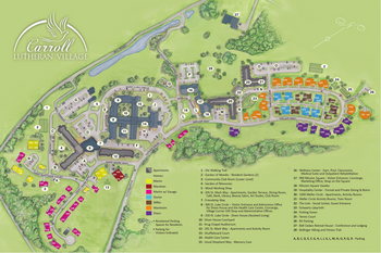 Campus Map of Carroll Lutheran Village, Assisted Living, Nursing Home, Independent Living, CCRC, Westminster, MD 1