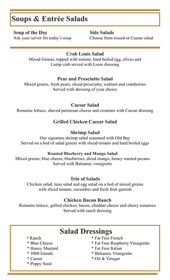 Dining menu of Mercy Ridge, Assisted Living, Nursing Home, Independent Living, CCRC, Timonium, MD 8