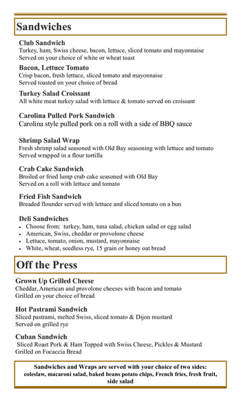 Dining menu of Mercy Ridge, Assisted Living, Nursing Home, Independent Living, CCRC, Timonium, MD 9