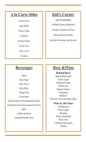 Dining menu of Mercy Ridge, Assisted Living, Nursing Home, Independent Living, CCRC, Timonium, MD 12