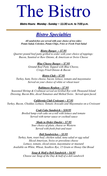 Dining menu of Mercy Ridge, Assisted Living, Nursing Home, Independent Living, CCRC, Timonium, MD 1