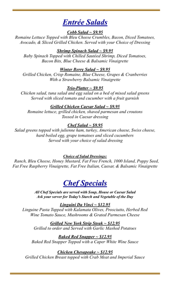 Dining menu of Mercy Ridge, Assisted Living, Nursing Home, Independent Living, CCRC, Timonium, MD 2