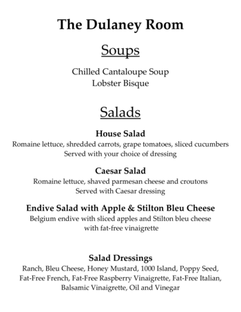Dining menu of Mercy Ridge, Assisted Living, Nursing Home, Independent Living, CCRC, Timonium, MD 3