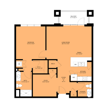 Cardiff: 1 Bedroom, 1.5 Baths, Study, 1,076 sq.ft.