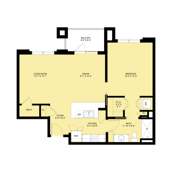 Darlington: 1 Bedroom, 1 Bath Deluxe, 842 sq.ft.