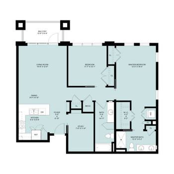 Eva Mar: 2 Bedrooms, 2 Baths & Den, 1,320 sq.ft.