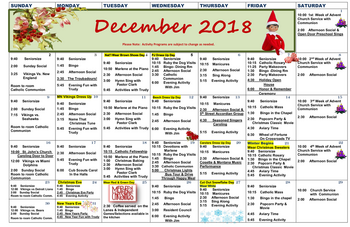Activity Calendar of Three Links, Assisted Living, Nursing Home, Independent Living, CCRC, Northfield, MN 2