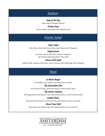 Dining menu of The Amsterdam at Harborside, Assisted Living, Nursing Home, Independent Living, CCRC, Port Washington, NY 1