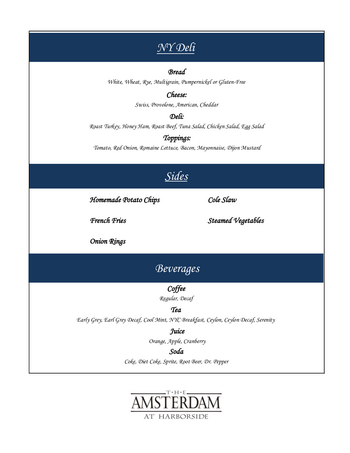 Dining menu of The Amsterdam at Harborside, Assisted Living, Nursing Home, Independent Living, CCRC, Port Washington, NY 2