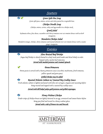 Dining menu of The Amsterdam at Harborside, Assisted Living, Nursing Home, Independent Living, CCRC, Port Washington, NY 3