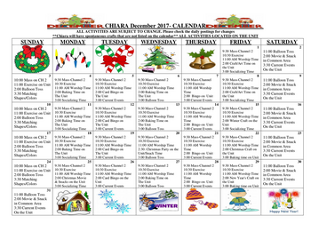 Activity Calendar of St. Francis Senior Ministries, Assisted Living, Nursing Home, Independent Living, CCRC, Tiffin, OH 1